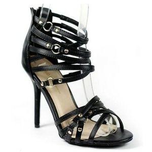 Black Faux Leather Open Toe Strappy Stiletto Heels